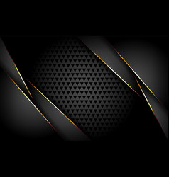 luxurious dark background with gold lines vector image