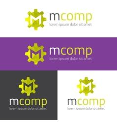 M letter modern polygonal logo vector