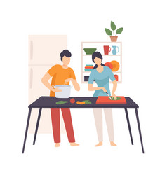 man and woman cook in kitchen vector image