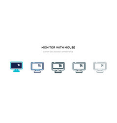 Monitor with mouse cursor icon in different style vector