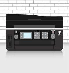 Multifunction printer in modern office with brick vector image
