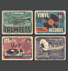 music instruments vinyl records musical notes vector image