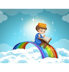 Muslim boy praying over the rainbow vector