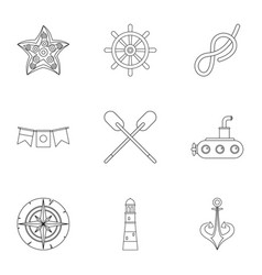 Naval icons set outline style vector