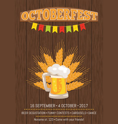 Octoberfest creative poster beer traditional glass vector