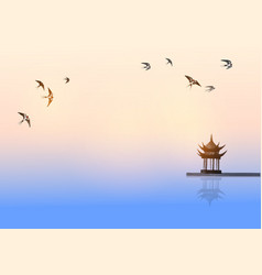 Pagoda temple over water surface and swallow vector