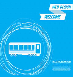 Passenger wagons train icon on a blue background vector