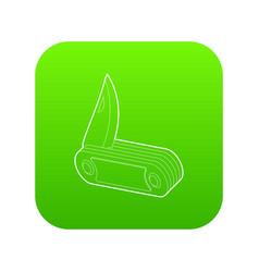 Penknife icon green vector