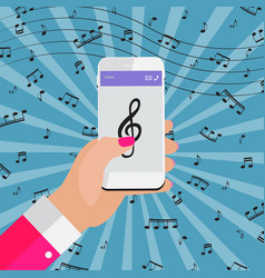 Playing music on your smartphone online from vector