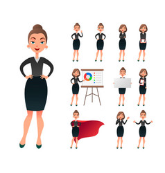 pretty businesswoman working character set vector image