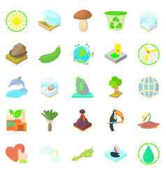 Pure nature icons set cartoon style vector