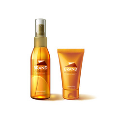 Realistic sunscreen sunblock tube mockup ad vector