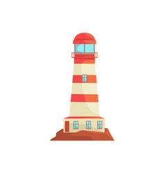 red and white lighthouse searchlight tower for vector image