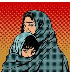 Refugee mother and child migration poverty vector