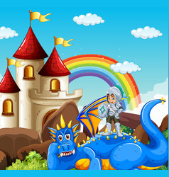 scene with knight and blue dragon vector image