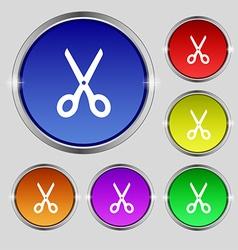 Scissors icon sign Round symbol on bright vector