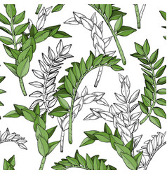 Seamless pattern with plant nature motives vector