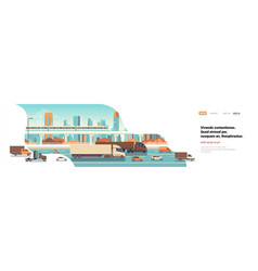Semi truck trailers driving highway road cars vector