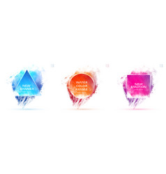 set liquid watercolor abstract geometric shapes vector image