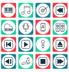 Set of 16 music icons includes gramophone mike vector