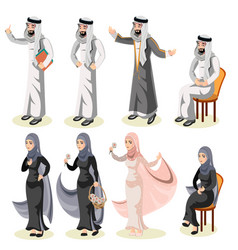set of different standing arab people in the vector image