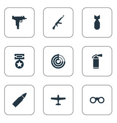 set simple war icons vector image