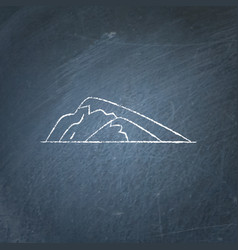 Sloping hill icon on chalkboard vector
