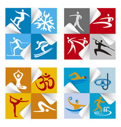sport fitness icons stickers vector image