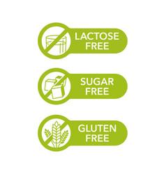 Sugar free gluten free lactose free - set vector