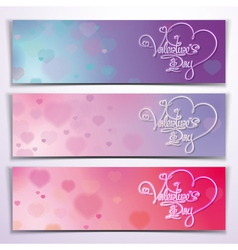 Three Valentine Banners Purple Pink vector image
