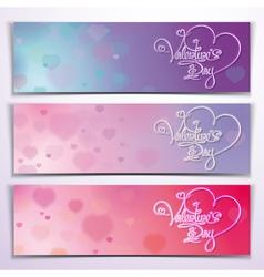 Three Valentine Banners Purple Pink vector image