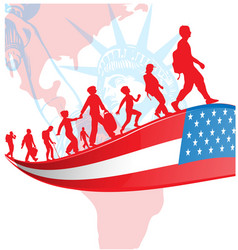 usa flag with immigration people on american vector image