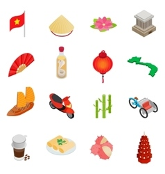 Vietnam icons set isometric 3d style vector