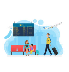 waiting airport area with timetable board tourist vector image