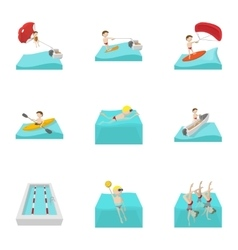 Water exercise icons set cartoon style vector image