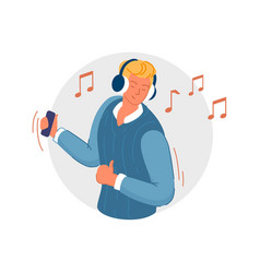 wireless music joyful man holding smartphone vector image