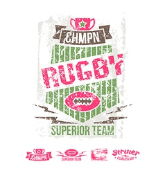 College girl team rugby retro emblem vector image vector image