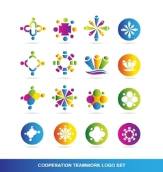 Cooperation teamwork logo vector image