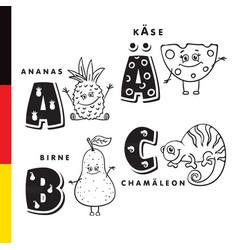 deutsch alphabet pineapple cheese pear vector image