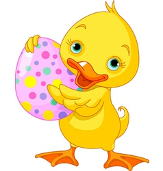 easter duckling carrying egg vector image vector image