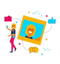 girl posting selfie to social media network app vector image