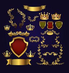 golden heraldic elements kings crowns vector image