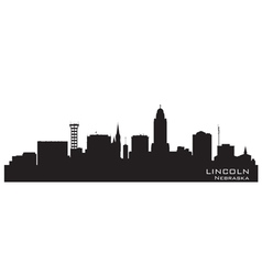 Lincoln Nebraska skyline Detailed silhouette vector image
