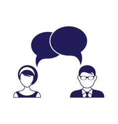 man and woman with dialog speech bubbles vector image vector image