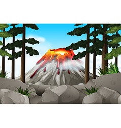 Nature scene with volcano and forest vector image