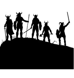 viking raiders silhouette vector image vector image