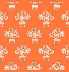 coral orange and white line flower pots seamless vector image vector image