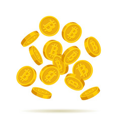 golden bitcoin coins on white background vector image vector image