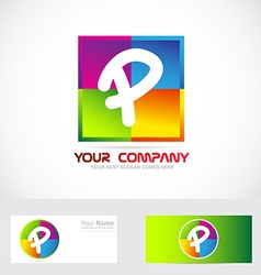 Letter p logo colors vector image vector image