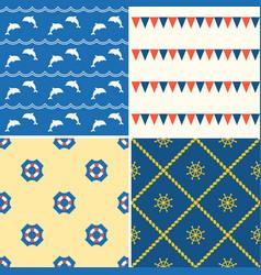 set of seamless background nautical theme vector image